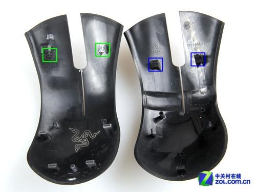 炼狱蝰蛇2013版(左)与炼狱蝰蛇鼠标(右)按键支柱位置对比