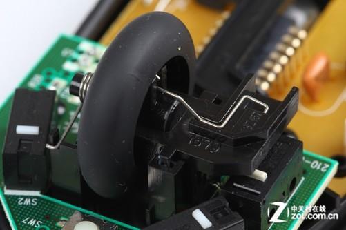 罗技鼠标上常用的光栅式滚轮结构展示