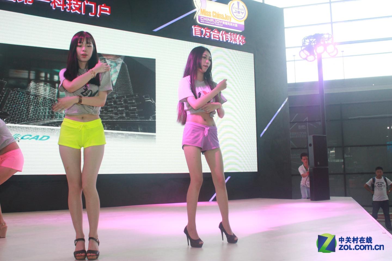七彩热裤飘扬 chinajoy展前美女排练偷拍