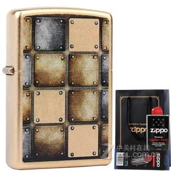 芝宝 正品(zippo)打火机 仿古铜/彩印 28539 金方格子 金属方块
