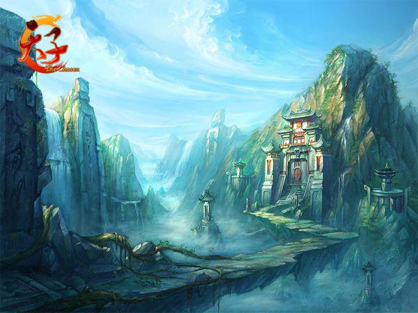 宫殿水墨手绘
