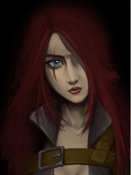 玩家原创LOL英雄不祥之刃卡特琳娜原画