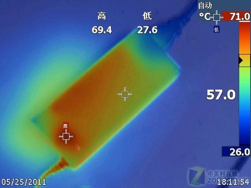 适配器的发热量也了个测试,使用热成像仪,拍摄电源适配器在...
