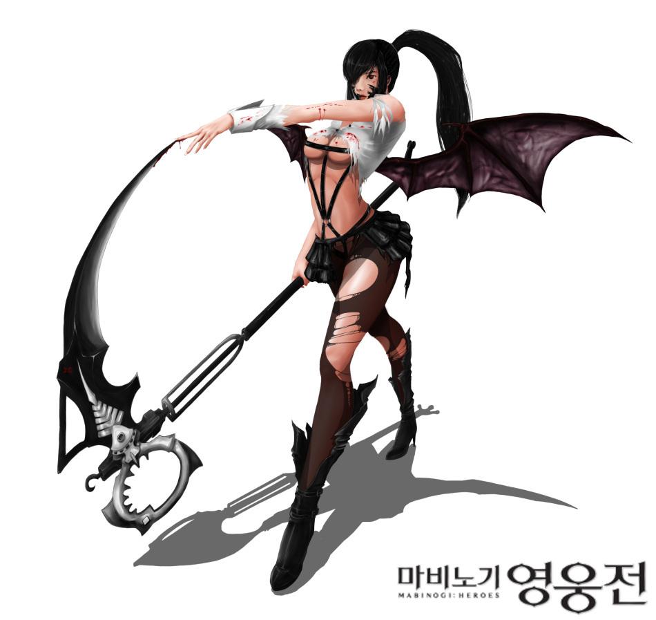 韩服《洛奇英雄传》玩家短裙的性感美女笔下黑丝性感图片
