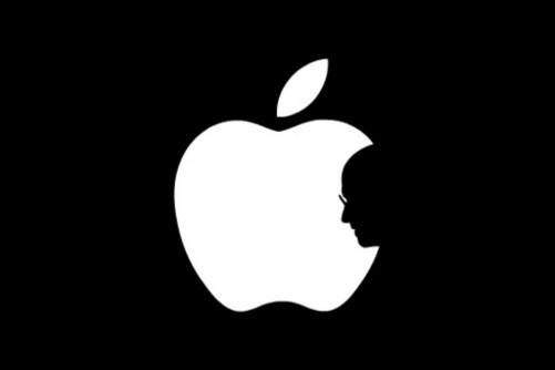图片以黑底白图的苹果logo为原型,在原本弧线的缺口处巧妙的嵌入了图片