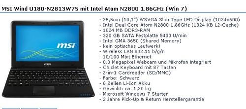 微星Wind U180上网本配Atom N2800处理器
