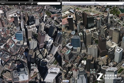 ios6中苹果3d地图比谷歌地图清晰度高