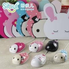 熙彼儿可爱萌卡通鼠标 台式机笔记本通用 粉兔子