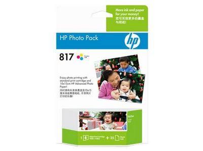 HP 高级相片纸 A6幅面 CG500AA+墨盒套装817号