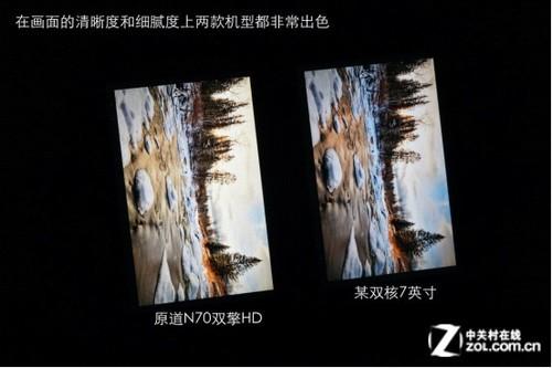 双核7英寸 原道N70双擎HD屏幕对比实拍